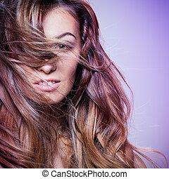 hår, lockig