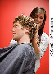hår, mannens, stående, klippande, kvinna
