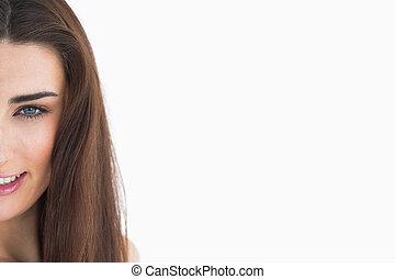 hår, nära, länge, uppe, kvinna
