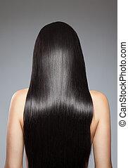 hår, rak, länge