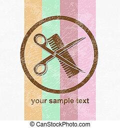 hår sällskapsrum, hårklippning, symbol, eller