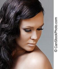 hår, sort, længe, skønhed