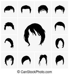 hår, stilar