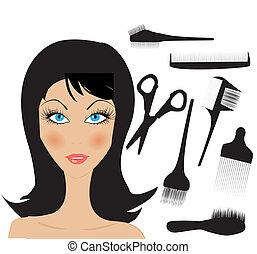 hår stiliser, elementer, skønhed
