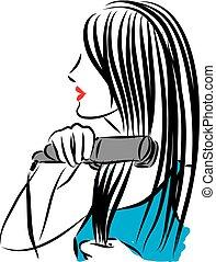 hår, strykning, kvinna, nätt, illustrat