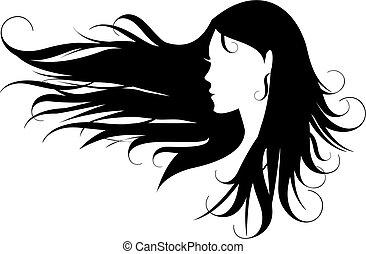 hår, svart