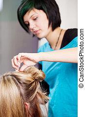 hår, tillverkning, salon, client's, frisör