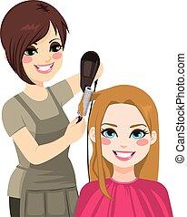 hår, torkning, frisör