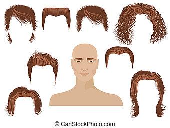 hårklippning, man, sätta, hairstyle., ansikte