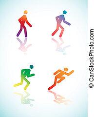 hældning, løb, pictograms