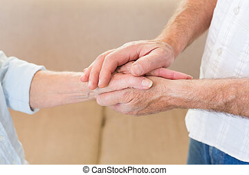 hænder, afgå, røre, par