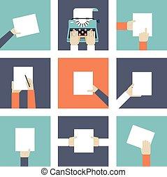 hænder, avis, holde, stykke
