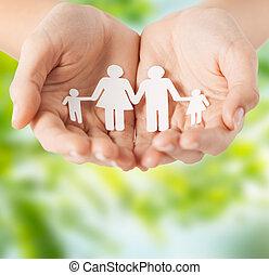 hænder, avis, kvindelig, familie, pictogram