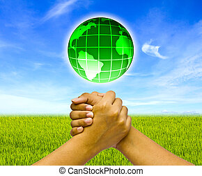 hænder, begreb, globe., to, forenet