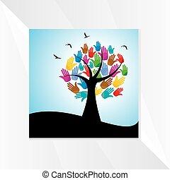 hænder, begreb, træ