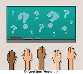 hænder, chalkboard, rejst