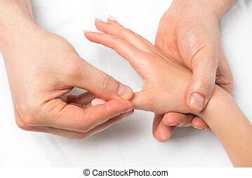 hænder, close-up, massage, teknik, i, hænder, udsigter fra above