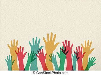 hænder, farverig, teamwork, illustration, begreb