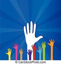 hænder, farvet, oppe, sociale, donation