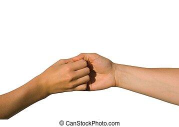 hænder, greb, to, en anden, æn