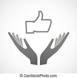 hænder, hånd, tommelfinger, offer, to