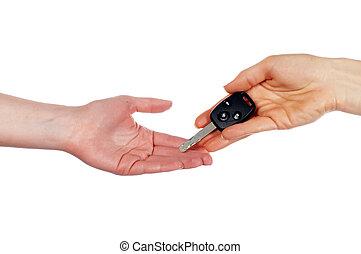 hænder, holde, en, automobil, nøgle