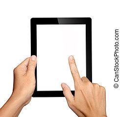 hænder, holde, og, røre, på, pc. tablet, isoleret