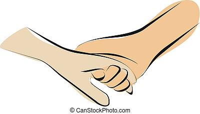 hænder, holde