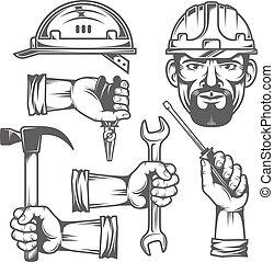 hænder, hos, redskaberne