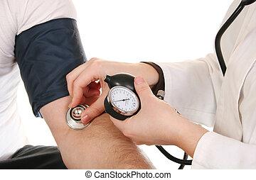 hænder, hos, stetoskop