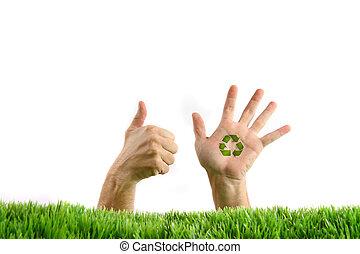 hænder, ind, den, græs, på hvide