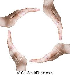 hænder, indgåelse, cirkel