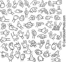hænder, lineart, 2, cartoon, pakke