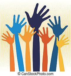 hænder, lykkelige, illustration.