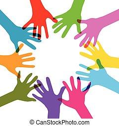 hænder, nej, effekter, farvedias, sammen
