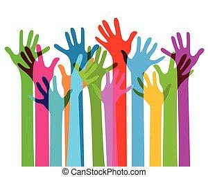 hænder, nej, farvedias, sammen