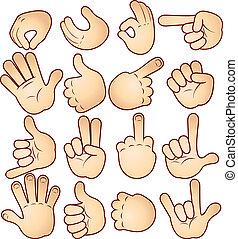 hænder, og, gestuser