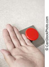 hænder, og, rød knap