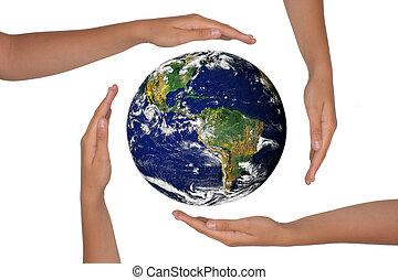 hænder, omkring, en, satelite, udsigter, i, jord