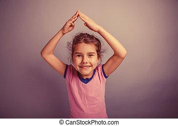 hænder, pige, europæisk, anføreren, baby, tilsynekomst, above, 6, år