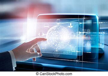 hænder, røre, cirkel, globalt netværk, sammenhænge, og, ikon, kunde, på, virtuelle, skærm, omni, kanal, og, online, ydelse