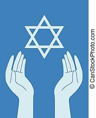hænder, stjerne, illustration, david