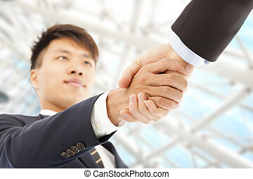 hænder, to, hils, anden, hver, forretningsmand, ryse