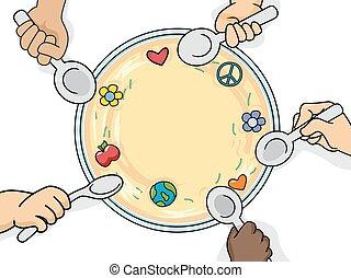 hænder, unge, mad
