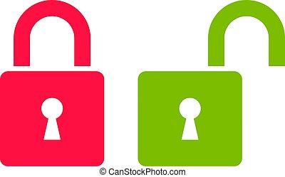 hængelås, åbn, aflukket, grønne, ikon, rød