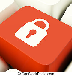 hængelås, ikon, computer nøgle, viser, sikkerhed, garanti, og, beskyttet