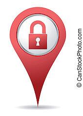 hængelås, lokaliseringen, rød, ikon