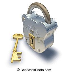 hængelås, og, nøgle