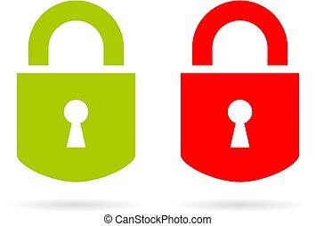 hængelås, vektor, grøn rød, ikon
