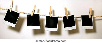 hængende, vinhøst, polaroid, papirer